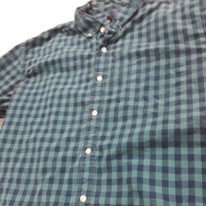 J. Crew green and navy checked button down shirt
